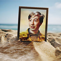 Foto efecto - Photo frame on the beach