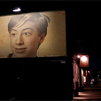 Foto efecto - Billboard in the darkness