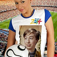 Foto efecto - Cute girl. Football fan