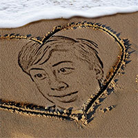 Foto efecto - Heart on the sand