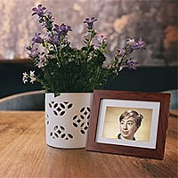 Photo effect - Photo frame near flowepot