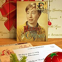 Effet photo - Vintage Christmas postcard on the table