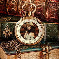 Foto efecto - Vintage books with a vintage watch