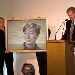 Photo effect - Rare painting is presented at auction