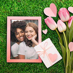 Photo effect - Bouquet of pink tulips on the green grass