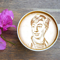 Photo effect - Printing photo on cappuccino