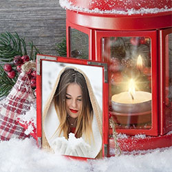 Photo effect - Frame near Christmas candle