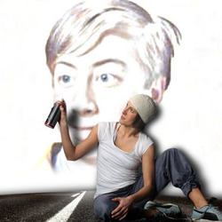 Photo effect - Graffiti by the cute girl