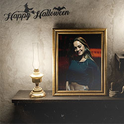 Photo effect - Halloween. Frames with candles