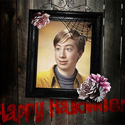 Photo effect - Halloween wooden photo frame
