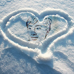 Photo effect - Heart on the snow