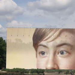 Photo effect - Huge billboard near the lake