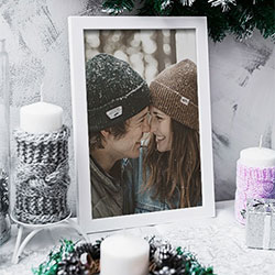 Photo effect - Photo frame among Winter decoration