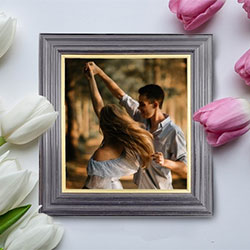 Foto efecto - Photo frame and gentle tulips