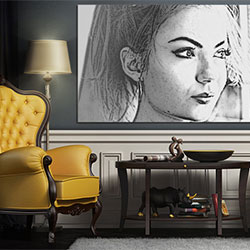 Photo effect - Picture on the wall of the living room