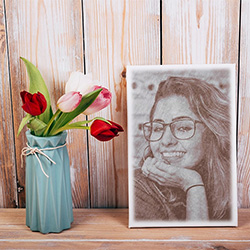 Foto efecto - Portrait of you with Spring tulips