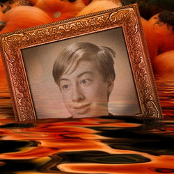 Photo effect - Sinking among Halloween pumpkins