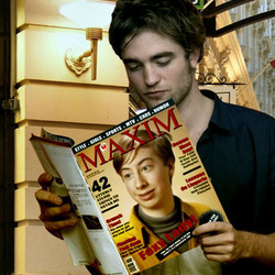 Photo effect - Robert Pattinson reads the magazine