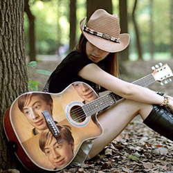 Photo effect - Romantic girl with a guitar
