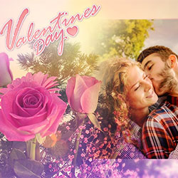 Effet photo - Valentines Day. Behind the flowers