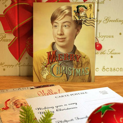 Photo effect - Vintage Christmas postcard on the table