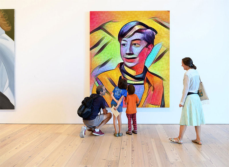 Photo effect - Children in art gallery