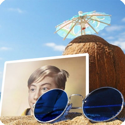 Photo effect - Coconut and sunglasses