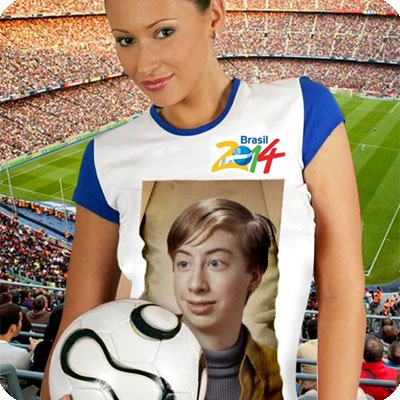 Photo effect - Cute girl. Football fan