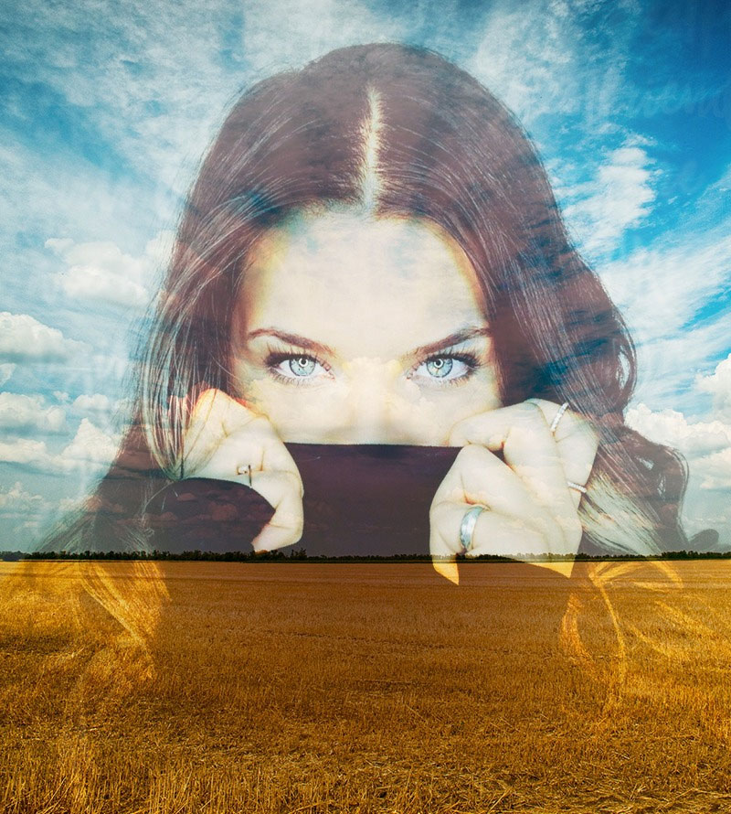 Effet photo - Dissolved in blue sky and yellow wheatfield