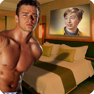 Photo effect - Justin Timberlake in a bedroom