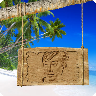 Photo effect - Wooden plaque on the uninhabited island
