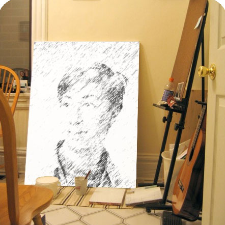Photo effect - Unfinished work in the painter's nook