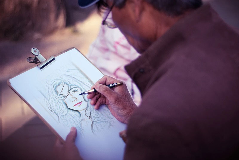 Foto efecto - Painter making a sketch