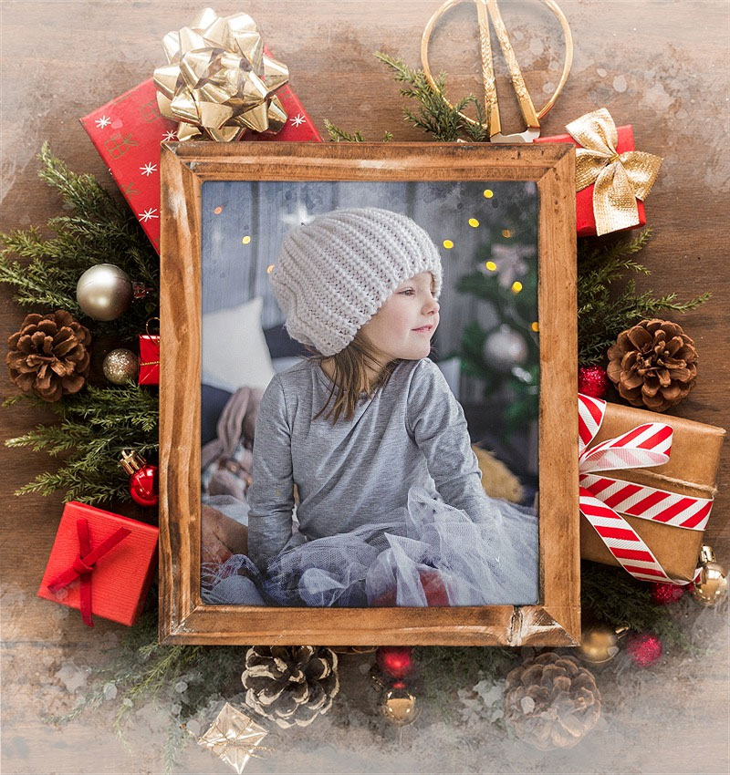 Foto efecto - Photo frame for Happy Holidays and New Year
