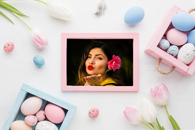 Photo effect - Pink photo frame on Easter
