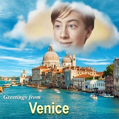 Photo effect - Postcard. Greetings from Venice