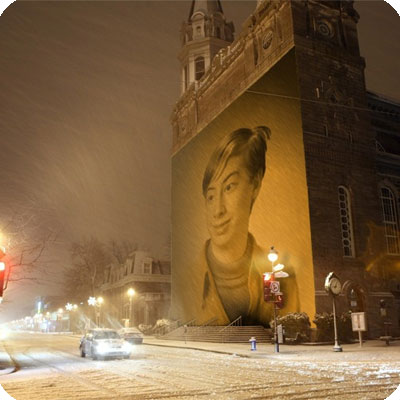 Photo effect - Snowy winter came to the city
