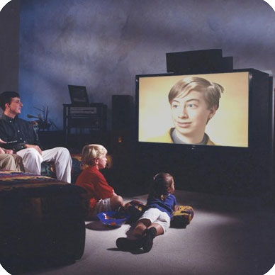 Photo effect - Family is watching TV