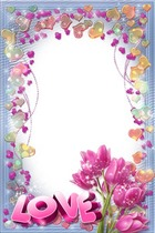 Photo frame - Pink Tulips with Love