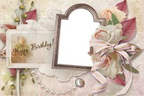 Molduras para fotos - Retro Happy Birthday Card
