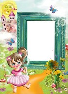 Photo frame - Bright kids photoframe with little fairy and her castle