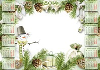 Photo frame - Calendar 2014 - New Year calendar with snowman