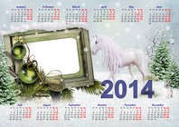 Photo frame - Calendar 2014 - White horse on the doorstep