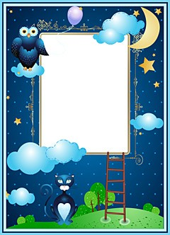 Aplique night photo frame with moon, owl and cat