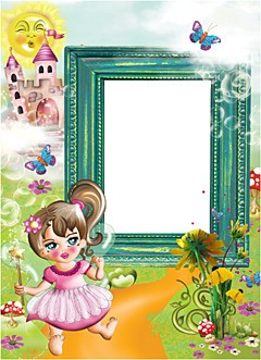 Bright kids photoframe with little fairy and her castle