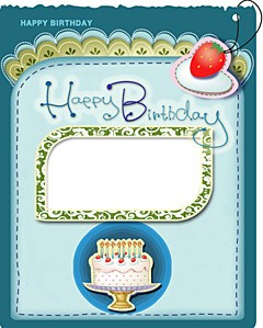 Happy Birthday greeting card with cake and candles