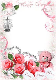 Valentine's card with pink hearts and roses