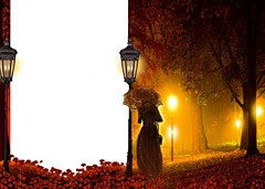 Mysterious light in the autumn night