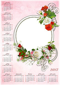 Calendario 2017. Bianco e rose rosse