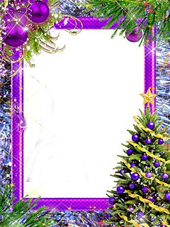 New Year tree with violet decorations
